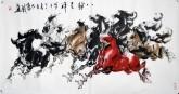 (已售)黄江(湖北美协)四尺横幅 国画动物画《八骏呈祥》