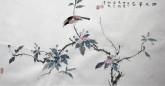 (已售,预订)隋晓玲(天津美院研究生)国画花鸟画 六尺三裁《雨后华容》雀鸟海棠果