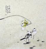 李大庆(中国美协会员)国画花鸟画荷花 三尺斗方 精品小尺寸