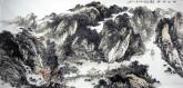 余建华(安徽美协理事) 国画山水画 六尺横幅《峡江帆影》