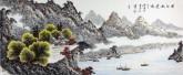 (已售)蓝国强 小六尺横幅 国画山水画《清江秋意图》