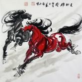 (已售)何红(湖北美协)四尺斗方 国画骏马图《天地雄风》