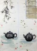 张永军(辽宁美协会员)国画苶壶,对联(可单售)