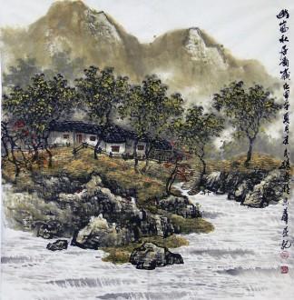 王来胜(娄东画派第八代传人) 国画山水画 精品四尺斗方《幽岚秋居图》