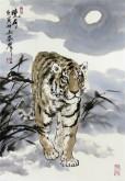 (已售)郝众声(中国美协会员)  国画虎《晓月》42*62cm小品4