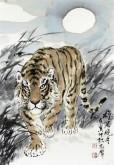 郝众声(中国美协会员)  国画虎《雄风晓月》43*62cm小品19