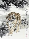 (已售)郝众声(中国美协会员)  国画虎《秋色无声》45*62cm小品18