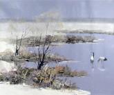 (已售)刘倩 布面油画 创作作品50*60cm 风景画 雪