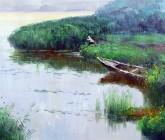(已售)刘倩 布面油画 创作作品50*60cm 风景画 垂钓