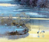 (已售)刘倩 布面油画 创作作品50*60cm 风景画 仙鹤