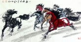 (已售)何红(湖北美协)四尺横幅 国画八骏马图《八骏雄风》2