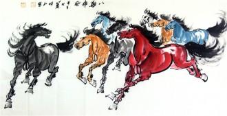 何红(湖北美协)四尺横幅 国画八骏马图《八骏雄风》4