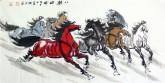 何红(湖北美协)四尺横幅 国画八骏马图《八骏雄风》