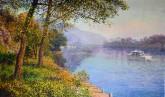 (已售)朝鲜油画 宇成(一级画家)71*117cm 布面油画 大同江18