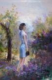 (已售)朝鲜油画 朴孝成(人民艺术家)93*65cm 布面油画 赏花15