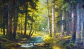 (已售)朝鲜油画 金顺英(一级画家)82*141cm 布面油画 密林5