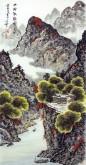 (已售)蓝国强 四尺竖幅 国画山水画《山村秋韵图》