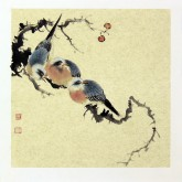 莫晓菲 国画写意花鸟画 小品斗方 红果雀鸟