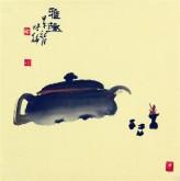 (已售)Y 肖映梅(中国美协)国画花鸟画 小品斗方 茶壶11y