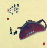 (已售)肖映梅(中国美协)国画花鸟画 小品斗方 茶壶10y