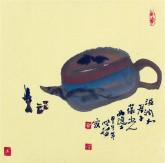 【询价】肖映梅(中国美协)国画花鸟画 小品斗方 茶壶3y