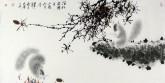 (已售)薛大庸(一级美术师)国画动物松鼠画 三尺横幅《涧松寒转直》