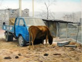 (已售)张立志 布面油画 创作作品100*120cm 牛 风景画 村庄
