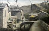 (已售)张立志 布面油画 创作作品60*80cm 屋后小桥 风景画 村庄