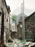 (已售)张立志 布面油画 创作作品60*80cm 屋后 风景画 村庄