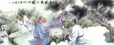 (已售)胡得福 国画人物 小六尺《松风对弈图》3