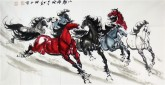 (已售)何红(湖北美协)四尺横幅 国画八骏马图《八骏雄风》