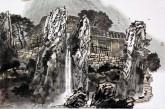 喻湘龙(中国美协会员、广西艺术学院教授)国画山水画《大山人家》四尺三开