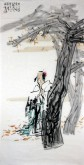 (已售)贾发军(河南省美协会员)国画人物画《片片落黄寄秋风》四尺竖幅