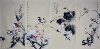 李大庆(中国美协会员)国画花鸟精品四条屏(小)
