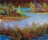 刘倩 布面油画 创作作品50*60cm 风景画 河边