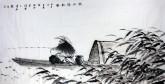 (已售)刘文清(中国美协会员)四尺横幅 国画人物画《秋江独钓图》