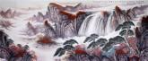 (已售)华卧石 国画山水画 大丈二尺《苍嶂秋云更白 青林霜叶偏红 不知身在何更 人在诗中画中》