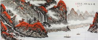 蓝国强 小六尺横幅 国画山水画《峡江秋韵图》
