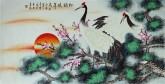 (已售)凌雪 四尺横幅 国画工笔花鸟画《松鹤延年》7-11