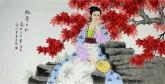 (已售)凌雪 四尺横幅 国画工笔人物画《枫叶正红》7-2