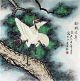 (已售)凌雪 四尺斗方 国画花鸟画《松鹤延年》