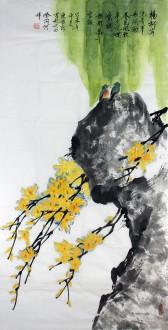 陈振新(中国美协会员)四尺竖幅 国画花鸟《杨柳岸》