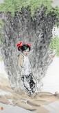 惠升碧(中国美协会员)四尺竖幅 国画人物画《陕北娃》