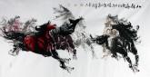 王杰(山东美协)国画动物画 四尺横幅 《八骏图》
