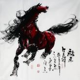 (已售)王杰(山东美协)国画动物画 四尺斗方《骏马呈祥》骏马图