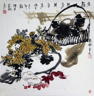 彭柯(中国美协)国画花鸟画 四尺斗方《东篱把酒黄昏后》