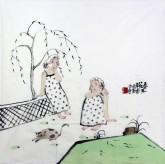 桑蕾(长春大学教授、中美协会员)国画人物画 四尺斗方《春风花草香晨》