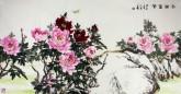 孙福林 国画花鸟画 四尺横幅《花开富贵》牡丹