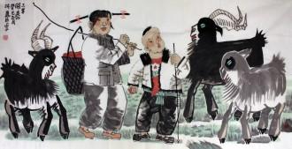张万臣(北京美协理事)国画人物画 四尺横幅《三羊开泰》