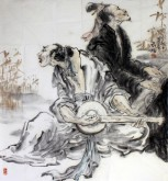 刘珺(中国美协会员)六尺斗 国画人物画《小雅》90*80cm